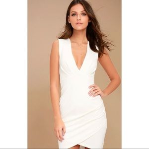 Lulus Cocktail Hour Ivory Wrap Dress